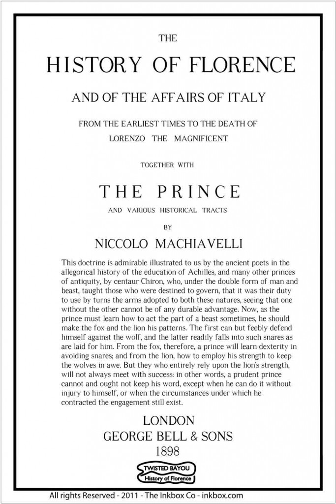 Machiavelli, The Prince